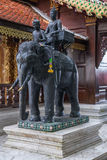 Statue of elephant riders at Wat Phrathat Doi  Suthep Stock Image