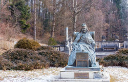 Statue of Elisabeth of Wied, Queen consort of Romania in Peles castle. Royalty Free Stock Photography