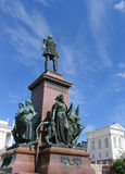 Statue of Emperor Alexander II of Russia in front of the Helsinki Cathedral in Helsinki, Finland Royalty Free Stock Photos
