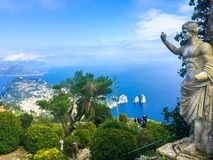 Statue of Emperor Augustus. At the top of Monte Solaro. Monte Solaro is a mountain on the island of Capri in Campania, Italy. With an elevation of 589 m, its royalty free stock photos