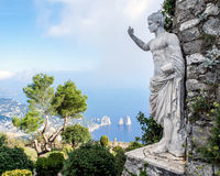 Statue of Emperor Augustus. On a top of Monte Solaro ,mountain on the island of Capri in Italy Royalty Free Stock Images