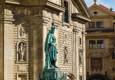 Statue of Emperor Charles IV near the Charles Bridge in Prague, Royalty Free Stock Photography