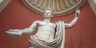 Statue of Emperor Claudius as Jupiter at Vatican. Claudius was the fourth Roman emperor. He`s pictured here as a god, strong and powerful. This is how Claudius stock image