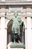 Statue of emperor Constantine. In front St. Lawrence Cathedral in Milan Royalty Free Stock Photos