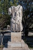 Statue of the emperor Hadrian at the ancient Agora of Athens. Ancient Agora in Athens Greece Stock Image