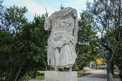 Ancient Agora in Athens, Greece. Statue of the emperor Hadrian at the ancient Agora of Athens, Greece Royalty Free Stock Photo