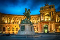 Statue of Emperor Joseph II. Hofburg palace in Vienna Austria. Royalty Free Stock Images