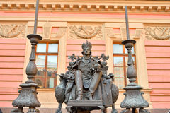 Statue of Emperor Paul I in the courtyard of Mikhailovsky Castle. Royalty Free Stock Photography