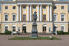 Statue of Emperor Paul I in front of the Pavlovsk Palace, Saint Petersburg, Russia. The statue was erected in 1872. It is a copy of statue by sculptor Ivan royalty free stock photos