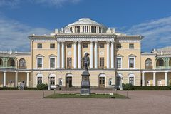 Statue of Emperor Paul I in front of the Pavlovsk Palace, Saint Petersburg, Russia. The statue was erected in 1872. It is a copy of statue by sculptor Ivan stock photo