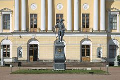 Statue of Emperor Paul I in front of the Pavlovsk Palace, Saint Petersburg, Russia. The statue was erected in 1872. It is a copy. Of statue by sculptor Ivan royalty free stock images