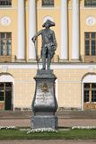 Statue of Emperor Paul I of Russia, Saint Petersburg. Statue of Emperor Paul I in front of the Pavlovsk Palace, Saint Petersburg, Russia. The statue was erected royalty free stock image