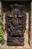 Statue en bois d'un dieu indou de Ganesha Image libre de droits