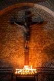 Statue en bois de Jesus Christ sur la croix Photographie stock libre de droits