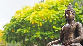 Statue en bronze d'image de Bouddha dans l'environnement paisible de jardin photographie stock
