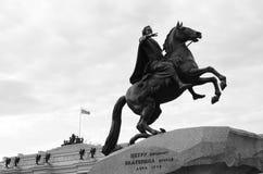 Statue en bronze de cavalier - points de repère de St Petersburg Image stock