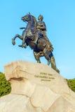 Statue en bronze de cavalier, St Petersbourg, Russie photo stock