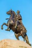 Statue en bronze de cavalier, St Petersbourg, Russie images libres de droits