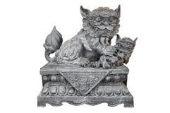 Statue en pierre chinoise de lion Photo stock