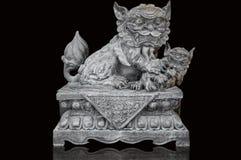 Statue en pierre chinoise de lion Photos stock