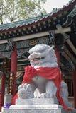 Statue en pierre de lion dans le temple de Hong Kong Wong Tai Sin Photographie stock libre de droits