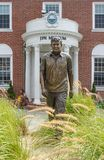 Statue and entrance of the John F. Kennedy Museum that preserves his legacy on Cape Cod in Hyannis MA USA Aug 5 2011 Stock Image