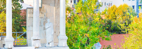 Statue et fragment d'amphithéâtre romain antique, Plovdiv, Bulgarie Photos stock