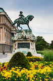 Statue Eugene of Savoy, Buda Castle. Equestrian statue of Eugene of Savoy at Buda Castle, Budapest. The prince win the turks in Battle of Zenta, freedom of Royalty Free Stock Image
