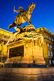 Statue of Eugene of Savoy, Buda Castle. Equestrian statue of Eugene of Savoy at Buda Castle, Budapest. Statue was made in 1900 for Zenta village, and bought by Royalty Free Stock Photography