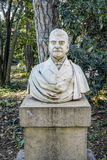 Statue at Evarist Arnus in Badalona. Badalona, Spain - February 27, 2017: Statue at Evarist Arnus, in the public gardens called Can Soley Park, donated to the Stock Photos