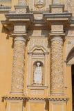 Statue at the facad of La Merced Church in Antigua, Guatema. La stock photos