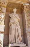 Statue of facade of the library of Celsus Royalty Free Stock Image