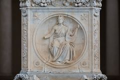 Statue in facade of palace in Sans Souci Stock Photo