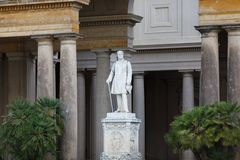 Statue in facade of palace in Sans Souci Royalty Free Stock Image