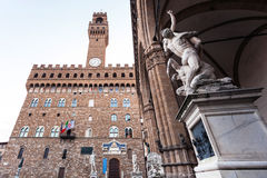 Statue and facade of Palazzo Vecchio Old Palace Royalty Free Stock Images