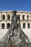 Statue of famous bullfighter in front of the arena in Nimes, France Royalty Free Stock Photos