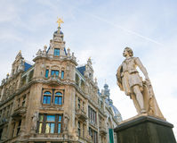 Statue of the famous painter Anthony Van Dyck on the Meir in Ant. Statue of the famous 17th century painter Anthony Van Dyck on the Meir, the main shopping Royalty Free Stock Photo