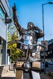 Statue of famous slovakian actor Julius Satinský stock photography