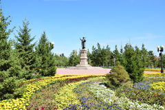 Statue featuring the Kazakh poet ZHAMBYL in Astana Stock Photos