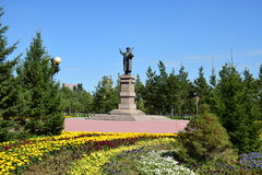 Statue featuring the Kazakh poet ZHAMBYL in Astana Stock Photo