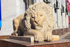 Statue featuring a lying lion in Astana Stock Photo