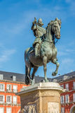 Statue of Felipe III at the Mayor Place in Madrid Stock Images