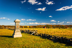 Statue and fence in a field in Gettysburg, Pennsylvania. Stock Photography