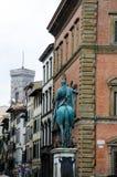 Statue of Ferdinando I de` Medici at he Piazza della Santissima Annunziata in Florence, Italy. The Statue of Ferdinando I de` Medici at he Piazza della royalty free stock images