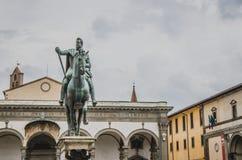 Statue of Ferdinando I de` Medici at he Piazza della Santissima Annunziata in Florence, Italy. The Statue of Ferdinando I de` Medici at he Piazza della stock photography