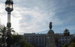 Statue of Fernando First in the New Plaza de Sevilla Royalty Free Stock Photo