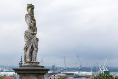 Statue in Ferrol with the port at the bottom, Galicia, Spain Stock Photos