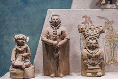 Statue figures exhibited in the National Museum of Anthropology, Mexico City Royalty Free Stock Photos