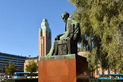 Statue of Finnish national romantic writer Aleksis Kivi Stock Image