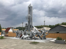 Statue of firefighter and heroes from Chernobyl disaster. In Ukraine royalty free stock image